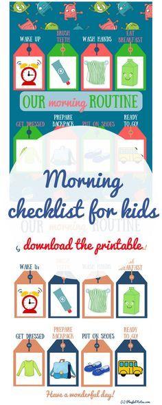 Morning routine for kids | Morning routine printable | Morning checklist for kids | Morning checklist printable