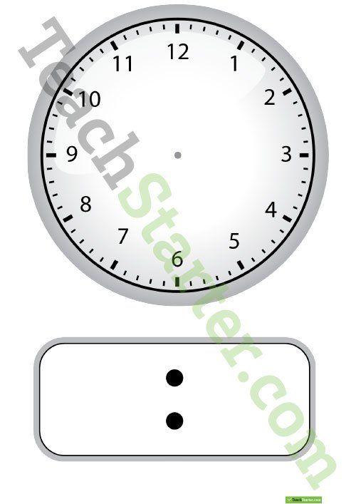 Teaching Resource: Blank digital and analogue clock template.