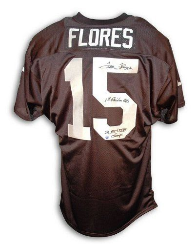 Autographed Tom Flores Oakland Raiders Throwback Jersey Inscribed 1st Raider QB and SB XV And SB XVIII Champs $268.95