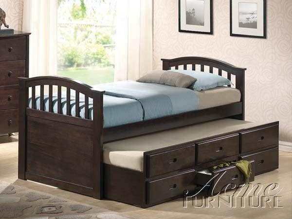 Acme Furniture - San Marino Dark Walnut Storage Twin Bed with Trundle - 04990