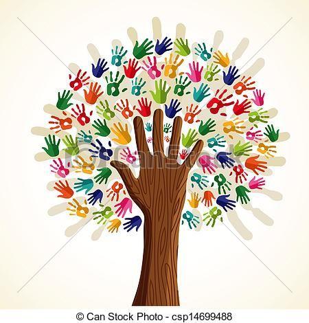 Vecteur - arbre, multi-ethnique, coloré - Banque d'illustrations, illustrations libres de droits, banque de clip art, icônes clipart, logo, image EPS, images, graphique, graphiques, dessin, dessins, image vectorielle, oeuvre d'art, art vecteur EPS