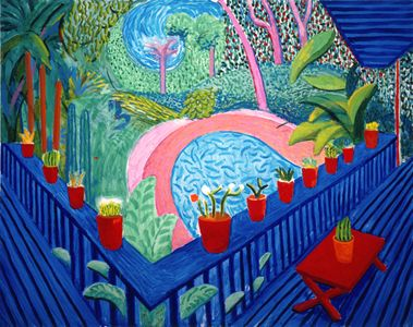 I love David Hockney and I thought you might like this on of his...., Red Pots In The Garden, 2000 #art #david_hockney