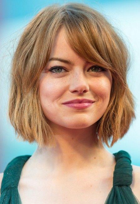 Emma Stone Short Bob Haircut with Bangs for Women