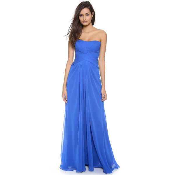Monique Lhuillier Strapless Draped Gown With Front Slit - Cobalt (112.400 RUB) found on Polyvore