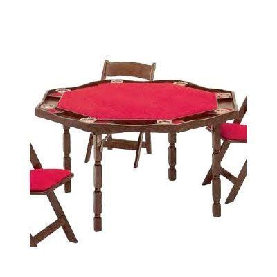 "Kestell Furniture 57"" Period Style Folding Poker Table Upholstery: Green Vinyl, Finish: Fruitwood/Walnut"