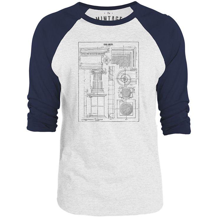 Mintage Ionic Order Architecture 3/4-Sleeve Raglan Baseball T-Shirt (White / Navy)