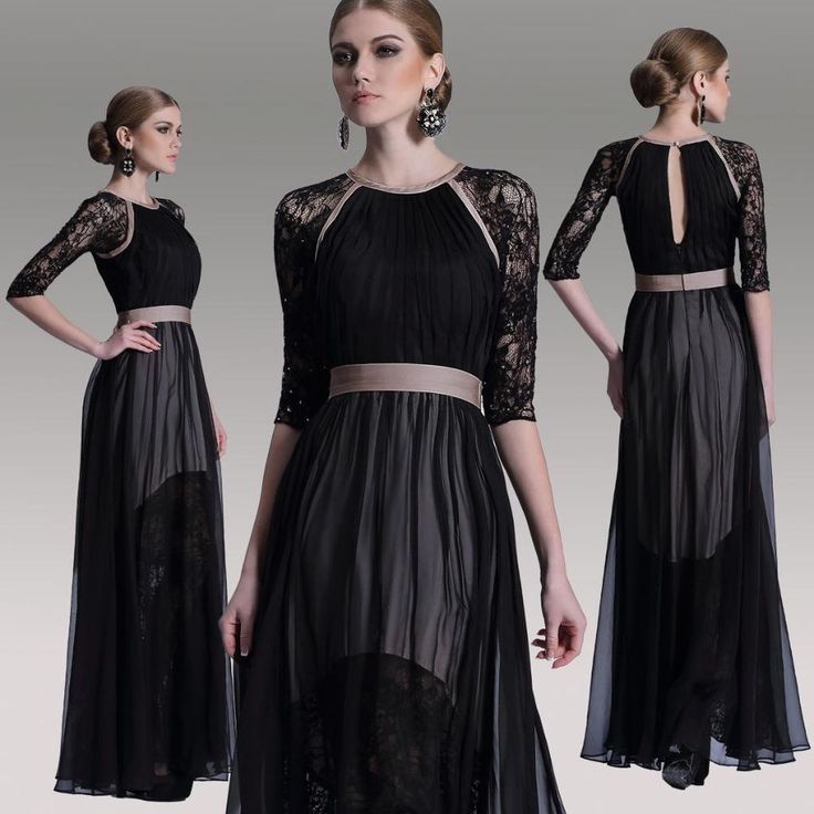 Long Black Evening Formal Party Prom Tencel Chiffon Satin Pleated Dress 30916