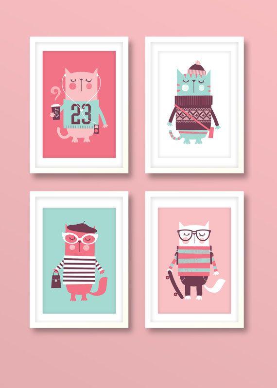 Kindergarten Kunst Mädchen Mädchen Drucken set von BubbleGumYears