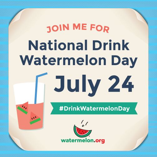 National Drink Watermelon Day -- lots of recipes at thefitfork.com! Not only is watermelon hydrating and tastes yummy, it's loaded with vitamins, minerals & antioxidents. Better for you than a sports drink #LivingOnTheWedge #DrinkWaterMelonDay @all4watermelon