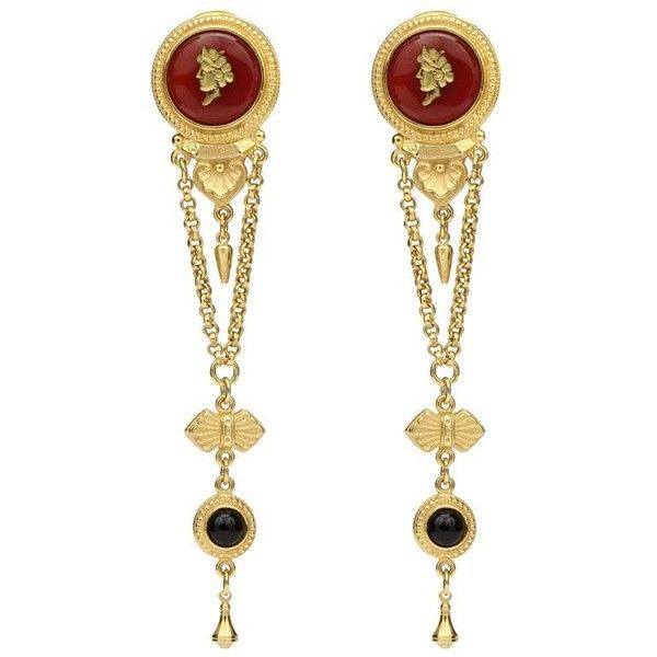 Royal charm ruby cameo dark stone gold drop clip-on earrings (£260) ❤ liked on Polyvore featuring jewelry, earrings, gold jewelry, gold jewellery, gold clip earrings, yellow gold ruby earrings and 24k gold earrings