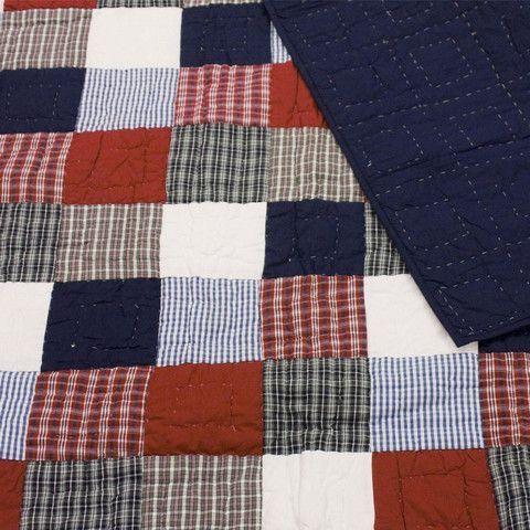 Mckenzie Blue & Red Patchwork Quilt / Throw