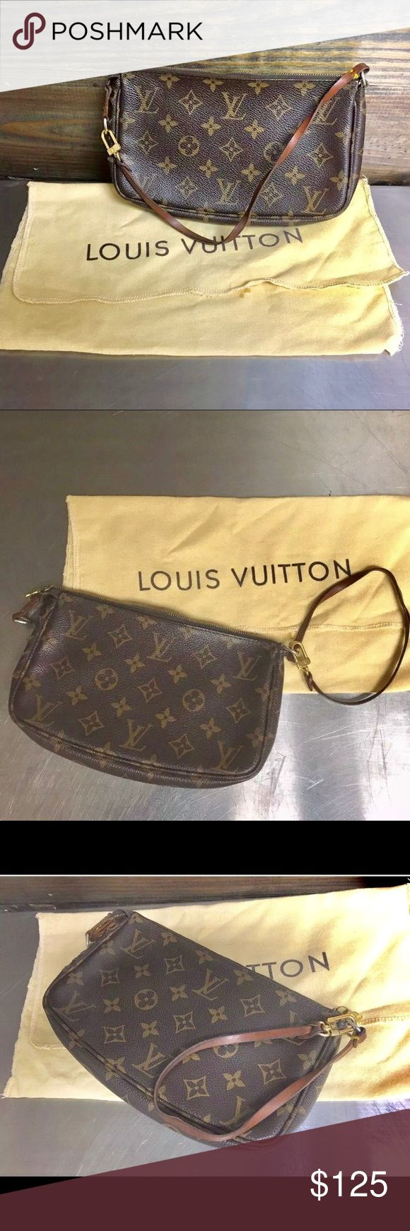 Louis Vuitton Monogram Pochette With Dust Bag Or eowned authentic Louis Vuitton Monogram Pochette with dust bag.   Inside: Minor make-up stain (see photo) comes from a smoke free home. It's in a clean overall condition.  Exterior: tiny punctures (see photo), light scratches on the hardwares. Leather strap has a nice patina w/minor discolorations. Zipper runs smoothly! Louis Vuitton Bags Mini Bags
