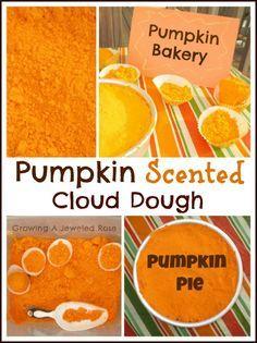 Pumpkin scented cloud dough that smells just like pumpkin pie! Great Autumn sensory play and for making lots of imaginative pumpkin treats!