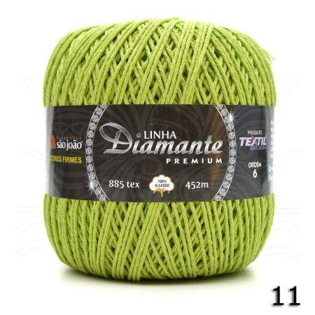 Barbante Diamante Premium nº06 400g na cor Verde Cítrus N°11.