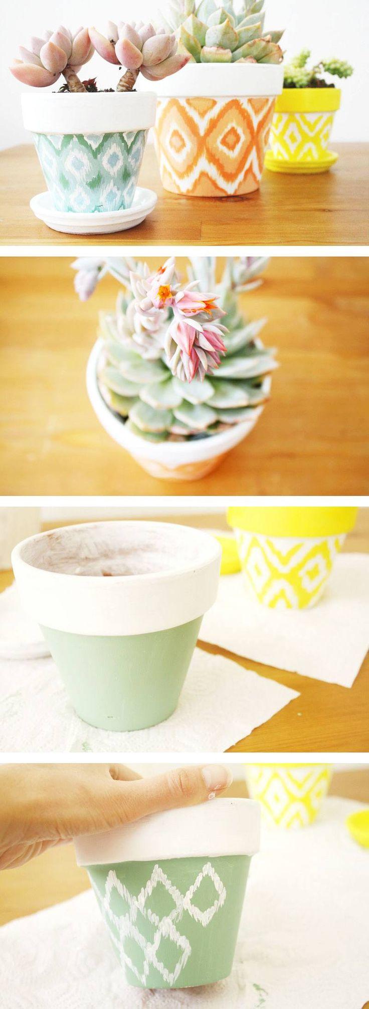 DIY Hand Painted Ikat Pots1