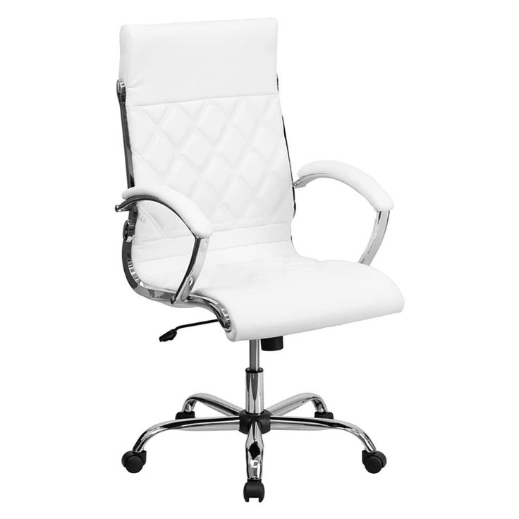 Offex High Back Designer White Leather Executive Office Chair with Chrome (Grey) Base [GO-1297H-High-White-GG]