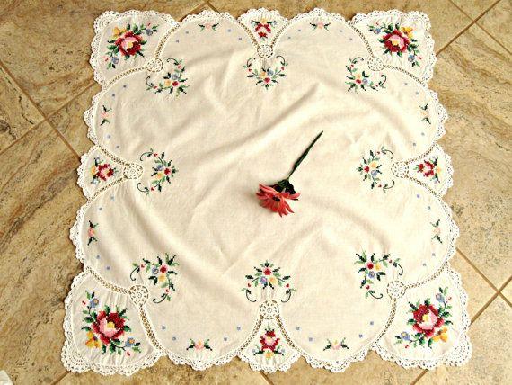 Vintage tablecloth. Handmade cross stitch by rekindledpassions