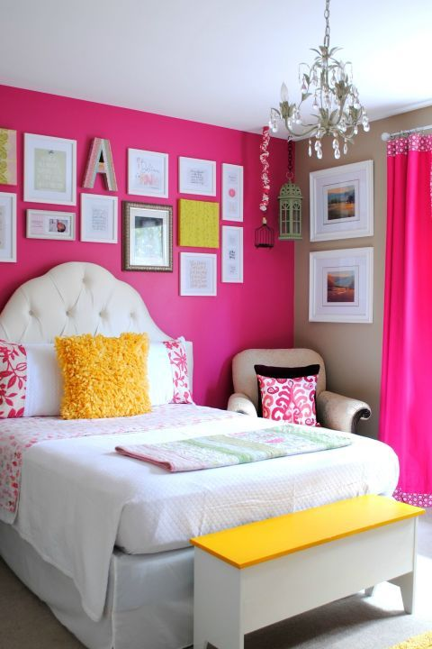 Instead of repainting the magenta wall, Jenna smartly swapped out the babyish green accents for cheery yellow ones. A tufted headboard and grown-up armchair round-out the room. #bedroom #decor #ideas #childrensbedrooms
