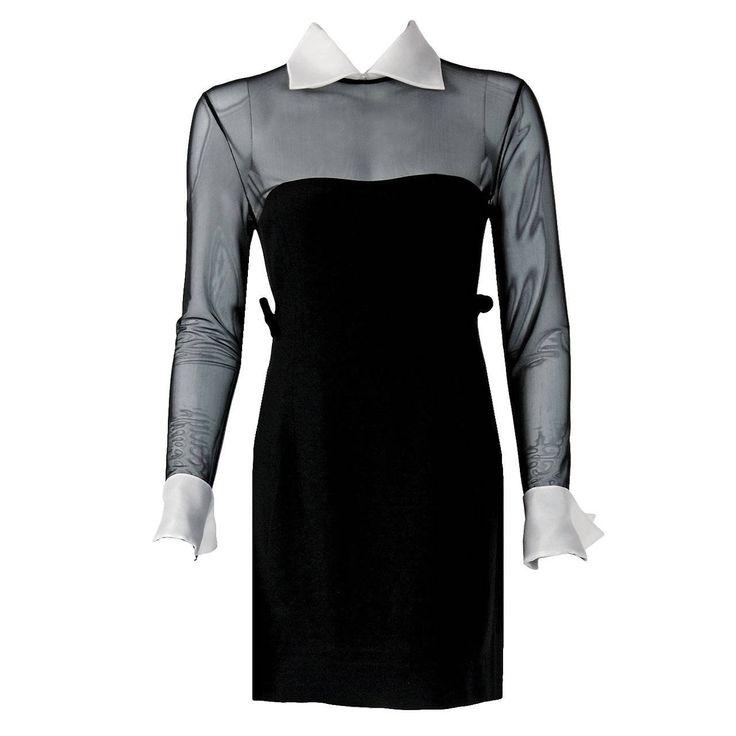 1990's Christian Dior Black Strapless-Illusion Collar & Cuffs Mini Party Dress