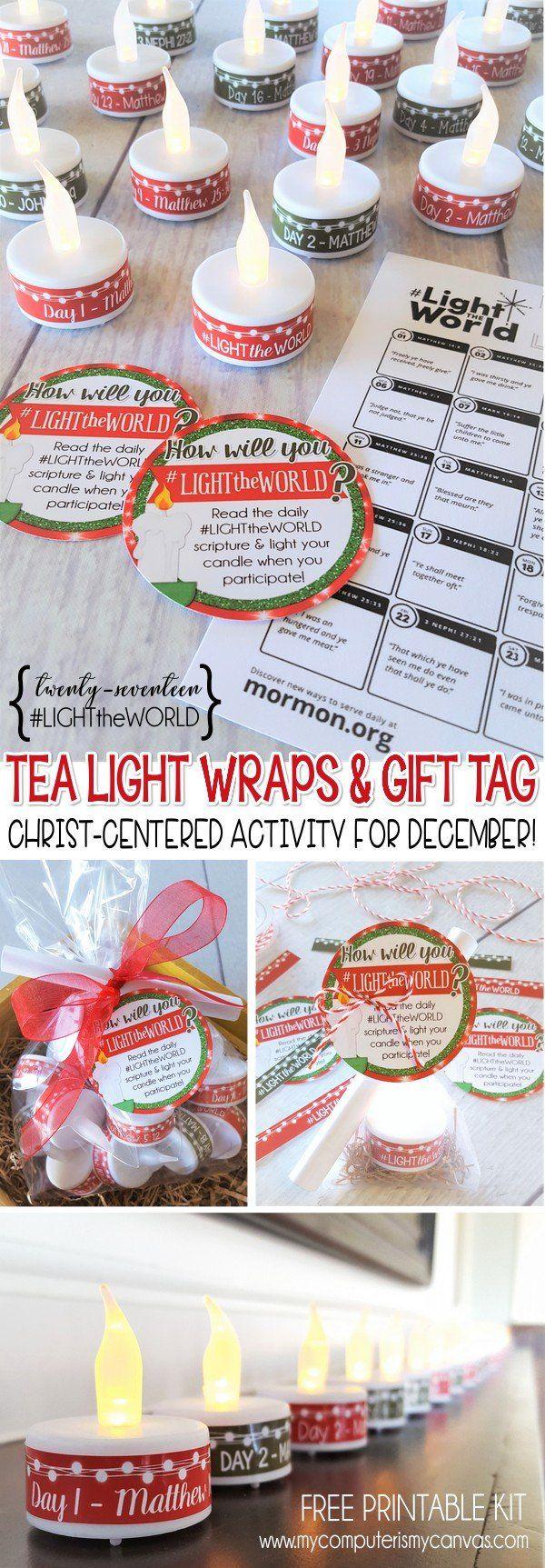 2017 #LIGHTtheWORLD FREE Printable Kit, tea light wraps + calendar and gift tag - LIGHT THE WORLD  #mycomputerismycanvas