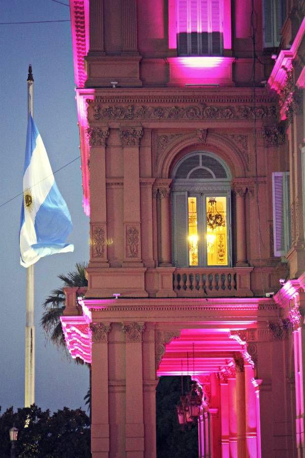 Casa de Gobierno y bandera nacional (entrada lateral, vista nocturna).-