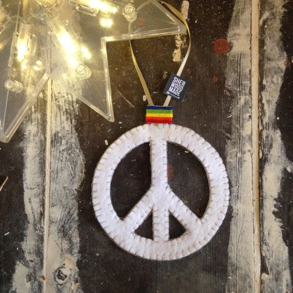PEACE  Christmas Tree Decoration/Ornament  Felt  by SHERWOODMADEUK