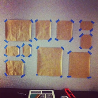 DIY picture frame gallery, doing this before actually putting nails in the wall is such a great idea!!