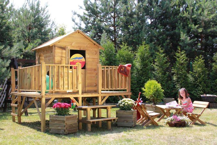 """Baumotte Spielhaus Holz - Kinderspielhaus """"Ernie"""" mit Rutsche"""