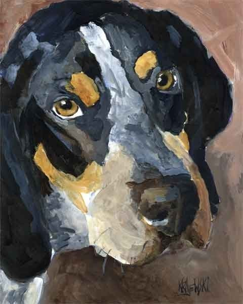 Bluetick Coonhound Art Print of Original Acrylic by dogartstudio I think I need this, made me cry as I scrolled through this artist's work hoping he would have a blue and then saw it
