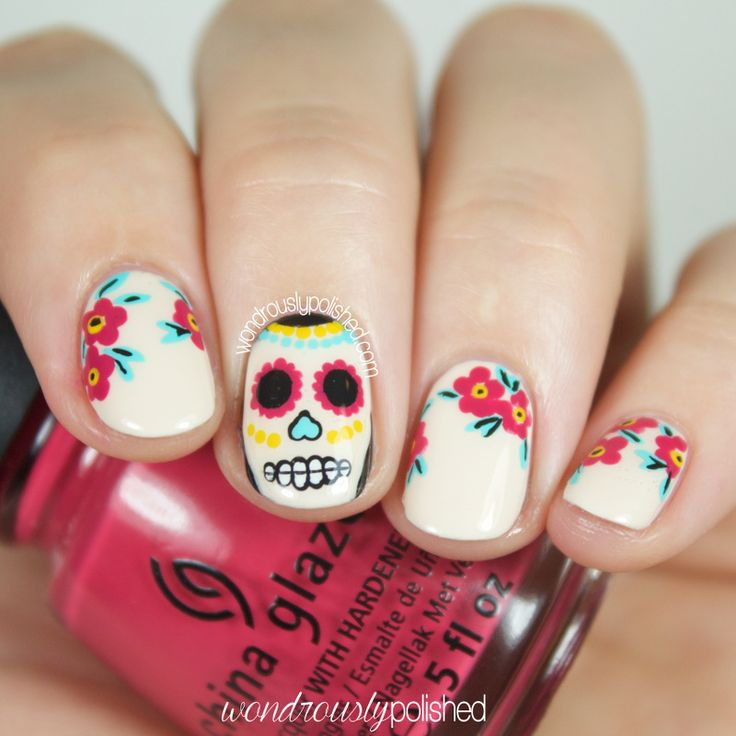 #manimonday the week before Halloween can only mean Sugar Skulls must happen ;) head to blog.thehunt.com (thehuntofficialblog) to check out my tutorial for this mani!