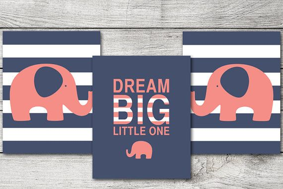 Navy Blue and Coral Pink Elephants Nursery Print / Girl Nursery Dream Big / Instant Download / Pink Coral Nursery Elephant Print on Etsy, $9.99