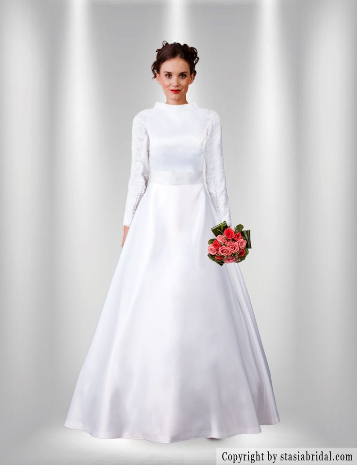 Modest wedding dress with sleeves, silk, long sleeves