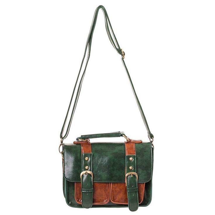 Leila retro leren schouder/handtas met gespen groen/bruin