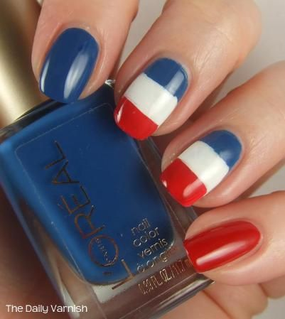 French Flag Nail Art I would do all red nails and just 1 nail with flag Also good for July 4th with red nails, 1 with stripes and 1 blue nail with stats