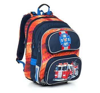 Plecak z motywem strażackim- model CHI 793 G - Red. Wóz strażacki, ogniste kolory? to jest to!