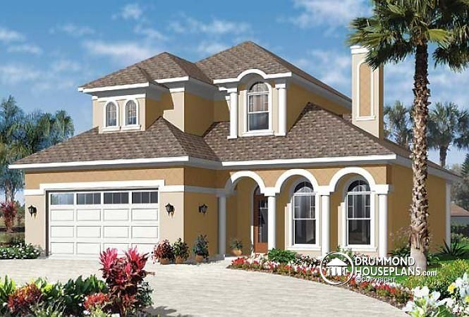 W3618 spanish style home design 4 to 5 bedrooms master suite on main floor house plans Master bedroom main floor house plans