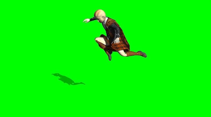 Manga School Boy Jumping Trinity Style On Green Screen