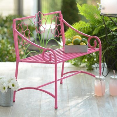 Pink Metal Kids 39 Outdoor Bench Pink Metals And Products