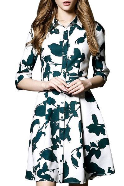 Women's Chic Print Half Sleeve Button Down Shirt Dress OASAP.com