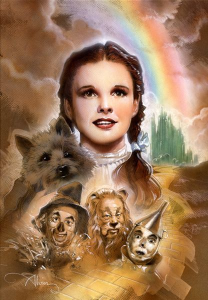 """""""Dorothy and Toto"""" - commemorative limited edition artwork by movie artist John Alvin. For Sale: http://www.artinsights.com/product/wizard-of-oz-dorothy-and-toto-2/"""