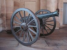 "Field shell gun ""Canon-obusier de campagne de 12 modèle 1853 Le Hangest"". Bronze, founded in Strasbourg in the mid-1850s. Caliber: 121 mm. Length: 1.91 m. Weight: 626 kg (with carriage: 1200 kg). Metal ball or explosive shell 4.1 kg."