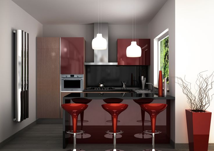 Render di una cucina laccata bordeaux lucido con top in quarzo nero.