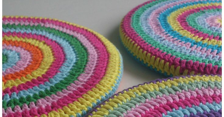 DIY Crochet Pot Coasters                   Kork Pot Coaster (from IKEA)             Use this pattern to crochet in the round:  1. Start ...