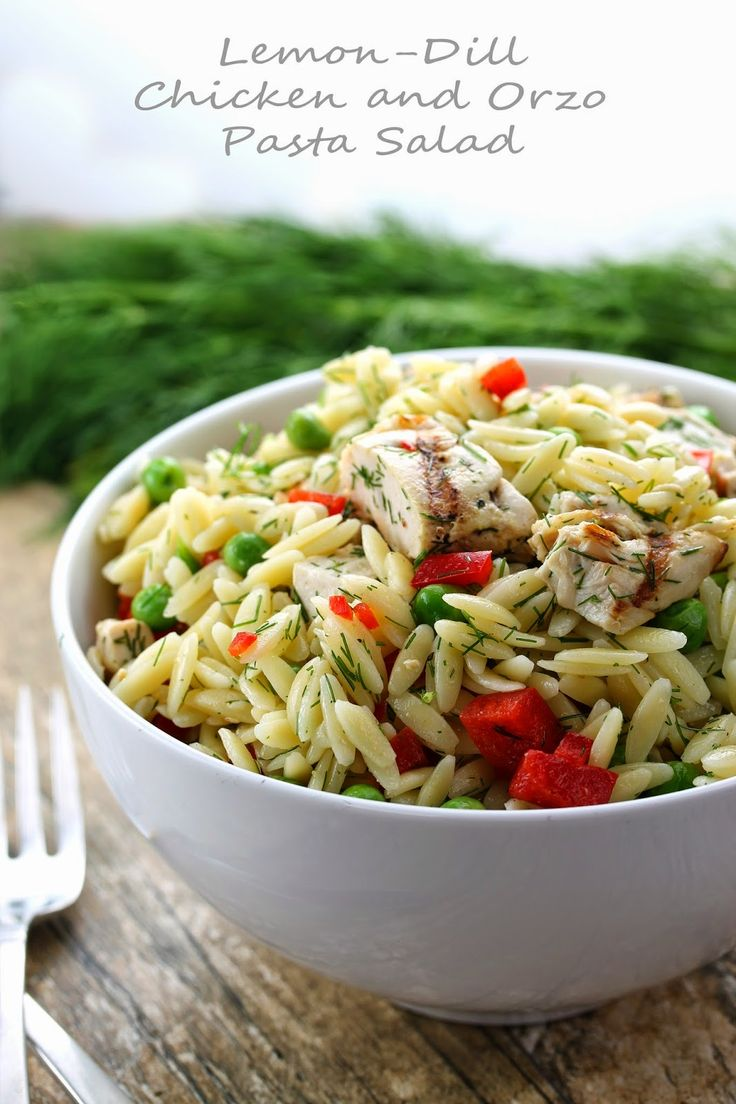 Lemon-Dill Chicken and Orzo Pasta Salad. Cold, bright, and refreshing and perfect for a potluck, picnic, or barbecue. | The Stay At Home Chef