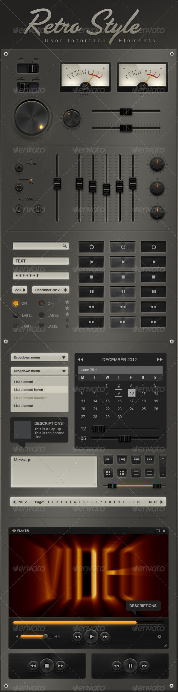 Retro User Interface Elements  #GraphicRiver        Retro User Interface Elements  326 PPI (pixels per inch)   Retina Display – ready   iPad – ready   iPhone 4 – ready   Android – ready  Blackberry – ready  professionally made – modular – fully editable – ready to use Highly customizable:   Professionally made .psd file (Adobe Photoshop File) with organized, fully editable and ready to use interface design elements. How You Can Use It:   Each element is a high-quality, perfectly organized…