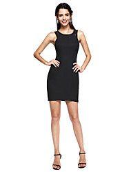 TS Couture® Cocktail Vestito - Abitino nero A tubino Con decorazione gioiello Corto / mini Di pizzo / Raso elasticizzato con Di pizzo