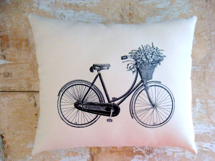 Bicycle Pillow, Vintage Bicycle, Flower Basket, French Country