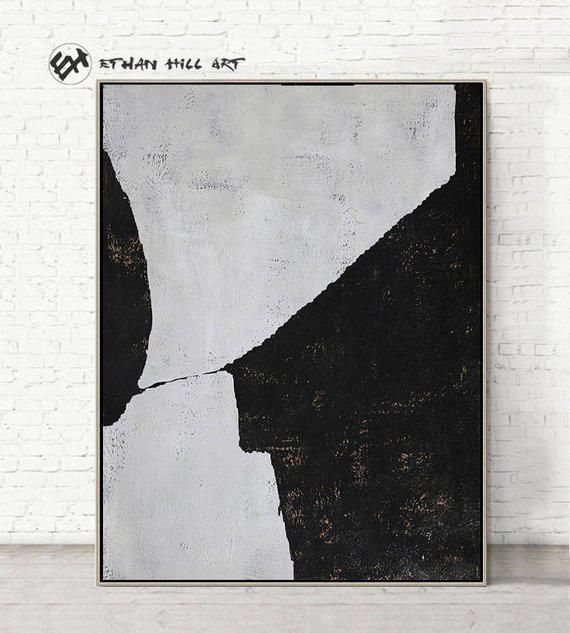 Original Painting Black White Canvas Art Large Abstract Art Vertical Wall Art Contemporary Paintin Contemporaryabstractartv Abstractart