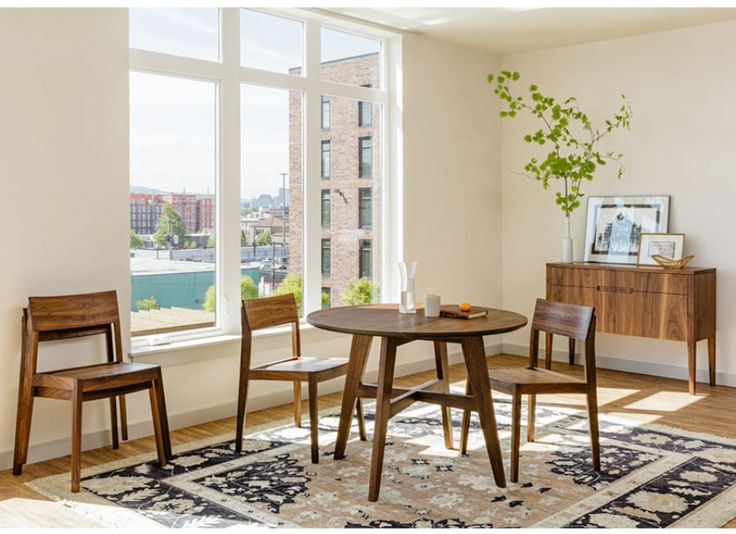 The Klalmath Dining Table Is Handcrafted In Portland Oregon Round Modern Design Built Using Solid Wood And Fits Into Smaller Scale Areas