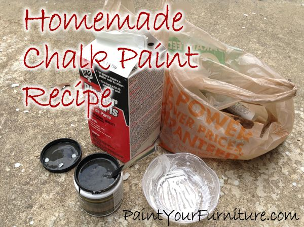 Homemade Chalk Paint Recipe - Plaster of Paris - PaintYourFurniture.com (8 oz paint, 2 TBL plaster of paris, and 2 TBL water)